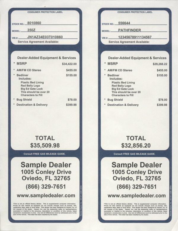Addendum window stickers version 1 20 general addendum label sample